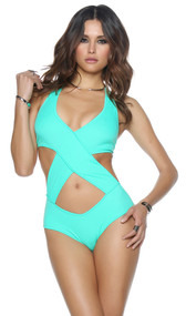 Criss cross cutout monokini with halter neck closure.