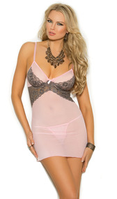 Sheer mesh babydoll with underwire cups, contrast lace trim, adjustable straps, satin bow detail and hook and eye back closure. Matching g-string included.