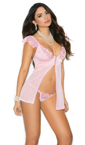 Sheer mesh flyaway babydoll with satin cups, embroidered mesh detailing, scalloped trim, ruffled sleeves, adjustable straps, and hook and eye front closure. Matching g-string included.