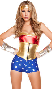 Lusty American Superheroine costume included romper, waist cincher with boning and headband. Three piece set.