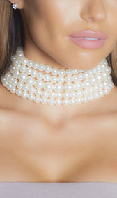 "Chunky stacked faux pearl choker with adjustable lobster clasp closure. Measures 2"" wide."