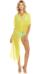 Yacht Life sheer Kimono style swimsuit coverup features a plunging neckline, elastic waist, mid-length sleeves and front slit.