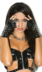 Vinyl fingerless gloves with spiked studs and zipper. Underside is plain. Elastic on bottom of wrist side.