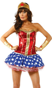 Bam! Superhero costume includes metallic strapless bustier, star spangled petticoat skirt, headband and arm bands. Four piece set.
