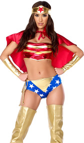 Victorious Vixen costume includes metallic two-toned bandeau top, star spangled cheeky shorts, cape, lasso, headband and gauntlets. Six piece set.