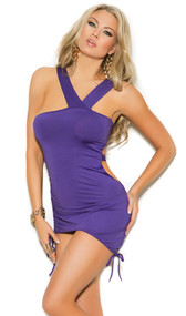 Asymmetrical mini dress with cut out sides, wide straps, adjustable scrunch sides and ruching.