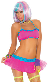 Lycra halter style string bra top with ruffle contrast trim. Matching mini tutu skirt set with ruffle trim also included.
