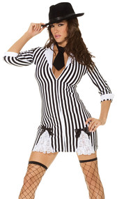 Gangster Girl mafia costume includes 3/4 sleeve striped dress and a tie. Two piece set.