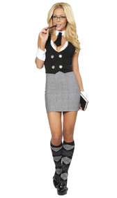 Librarian school girl costume includes short sleeve dress with back mini slit, vest with large buttons and lace detail, collar with tie, and wrist cuffs. Four piece set.