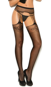 Fishnet suspender pantyhose with floral design.