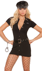 Officer Arrest Me costume includes button front dress with detachable belt, vinyl hat and handcuffs. Four piece set.