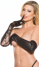 Wet look and lace elbow length gloves. Four way stretch for a perfect fit.