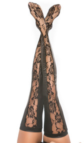 Wet look thigh high tights feature sheer floral lace front panels and full wet look back. Four way stretch for a perfect fit.