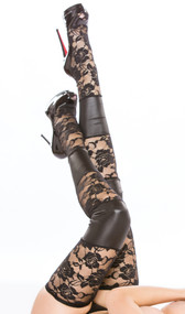 Thigh high tights feature sheer floral lace and wet look panels. Elasticized thigh. Four way stretch for a perfect fit.