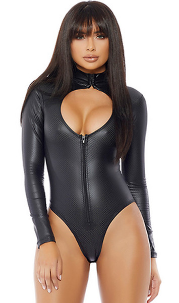 Long sleeve mock neck perforated faux leather bodysuit with chest cutout and zip front closure.