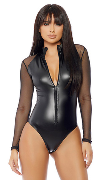 Matte zipfront bodysuit with micro net long sleeve contrast.
