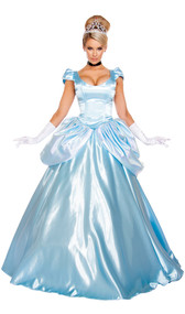 Stroke of Midnight Maiden costume features lace up top with cap sleeves and rhinestone detail, double layer floor length skirt, and tiara. Three piece set.