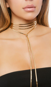 Metallic wrap choker with bead detail and adjustable lobster clasp closure.