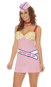 "Buttery Babe movie theater popcorn costume includes striped mini dress with popcorn print cups, ""Butter Me Up"" sash, neck piece and hat. Four piece set."