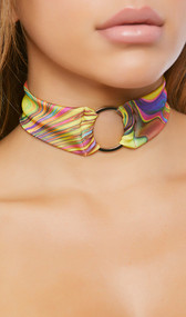 Rainbow swirl pattern choker with metal o ring detail and back side hook and loop closure.
