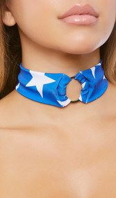 Star pattern choker with metal o ring detail and back side hook and loop closure.