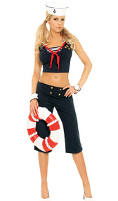 First Mate sailor costume includes capri pants, top, scarf, cuffs and hat. Five piece set.
