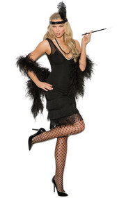 Flapper costume includes sleeveless dress with fringe detail, and sequin headband with feather. Two piece set.