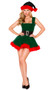 Head Elf costume includes sleeveless velvet dress with attached belt, lace up back, striped bow detail, and faux fur trim.