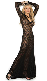Long sleeve floor length sheer lace nightgown with deep V front and rear train.