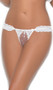 Chiffon and lace crotchless g-string with ruffles, satin bows, and faux pearl detail.