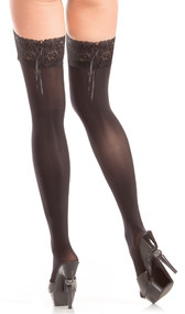 Stay up opaque thigh highs with lace top and back side lace up detail.