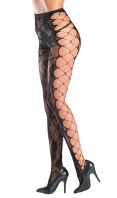 Floral fishnet tights with faux side lacing. Crotchless.