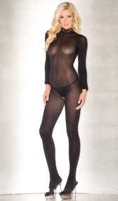 Sheer long sleeve bodystocking with lace neckline, keyhole back, and open crotch.