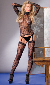 Floral lace long sleeve turtleneck top with garter clips and matching thigh high stockings. G-String not included. Two piece set.