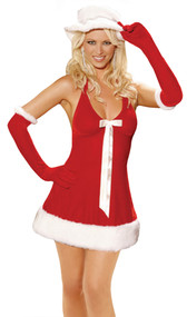 Santa's Honey 3-piece costume includes: velvet halter mini dress with faux fur trim detail, hat and gloves.