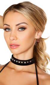 "Velvet rhinestone choker with back hook and loop closure. Measures about 1"" wide."