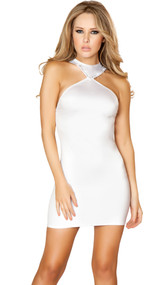 Cropped mini dress with rhinestone trim on collar, criss cross straps, and open back.