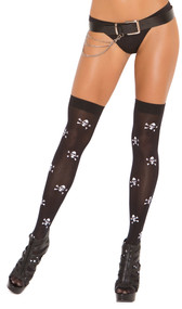 Thigh high stockings with skull and crossbones printing.
