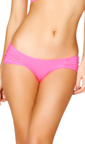 Low rise scrunch shorts featuring ruched sides and back. Crotch area is lined.