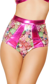 Jewels print two tone high waisted banded shorts with metallic contrast trim. Crotch area is lined.