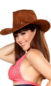 Cowgirl hat is made of soft faux suede material and features contrast lace up stitching.