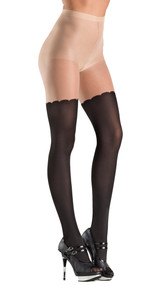 Spandex two toned pantyhose with scalloped faux thigh high design.
