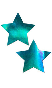 Self adhesive star shaped pasties with iridescent multi color finish. Latex free and waterproof. Two per package. Made with hypoallergenic, medical grade adhesive. No gluten, soy, dye, parabens or latex.