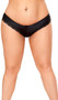 Criss cross panty features cut out back, lace trim, and front satin bow detail.
