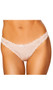 Lace thong panty features a front satin bow and scalloped trim.