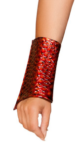 Dragon slayer wrist cuffs. Outside is a vinyl type of material with raised dragon scale design. Inside is fabric lined. Pair.