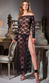 Long sleeve sheer lace gown featuring boat neck and high side slit. G-string included. Two piece set.