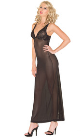 Sheer mesh gown with v neck, lace cups with side wire support, mini satin bow, adjustable straps, and small back slit. G-string included. Two piece set.