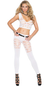 Sheer and opaque pattern sleeveless cami crop top with plunging V neckline and matching leggings. Two piece set.