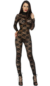 Mock neck long sleeve floral lace catsuit with backside zipper closure.